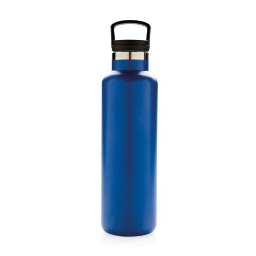 gourde publicitaire isotherme bleue à goulot avec filtre