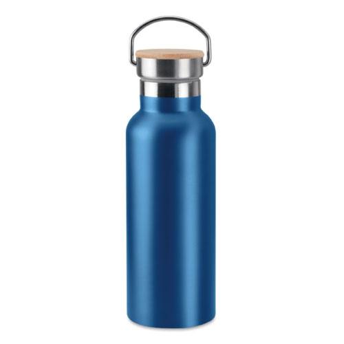 Bouteille isotherme bleue en acier inoxydable avec bouchon en bambou et poignée