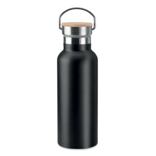 Bouteille isotherme noire en acier inoxydable avec bouchon en bambou et poignée