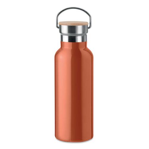 Bouteille isotherme orange en acier inoxydable avec bouchon en bambou et poignée