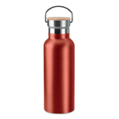 Bouteille isotherme rouge en acier inoxydable avec bouchon en bambou et poignée