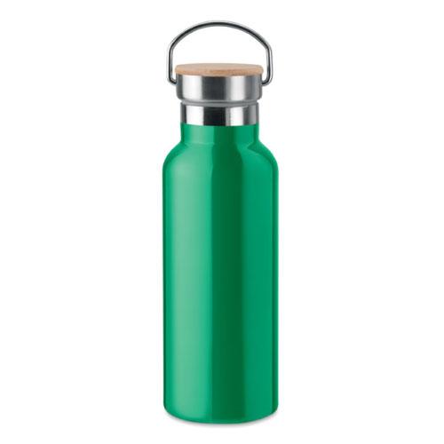 Bouteille isotherme verte en acier inoxydable avec bouchon en bambou et poignée