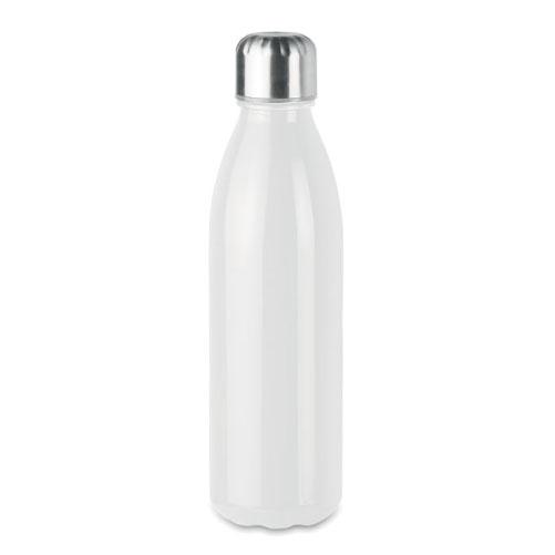 Bouteille publicitaire en verre avec bouchon inox couleur blanche