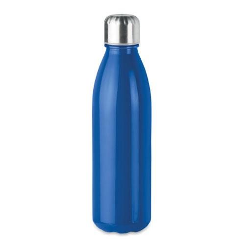 Bouteille publicitaire en verre avec bouchon inox couleur bleu