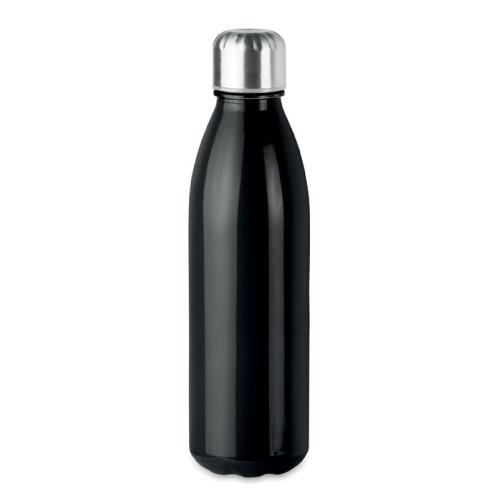 Bouteille publicitaire en verre avec bouchon inox couleur noir
