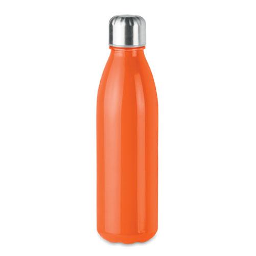 Bouteille publicitaire en verre avec bouchon inox couleur orange