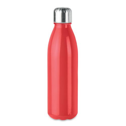 Bouteille publicitaire en verre avec bouchon inox couleur rouge