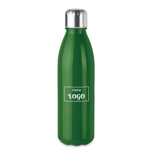 Bouteille publicitaire en verre avec bouchon inox couleur vert