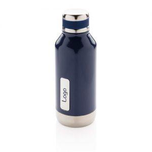 Gourde inox personnalisable bleue avec plaque