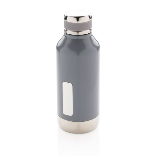 Gourde inox personnalisable grise avec plaque