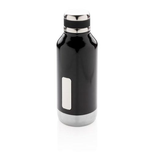 Gourde inox personnalisable noire avec plaque