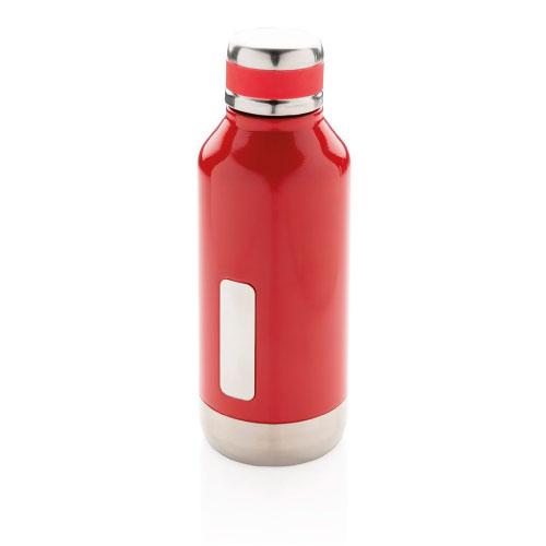 Gourde inox personnalisable rouge avec plaque