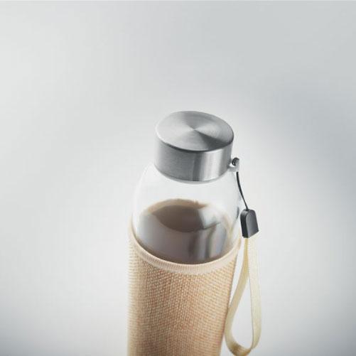 Gourde personnalisable en verre avec pochette en néoprène et jute