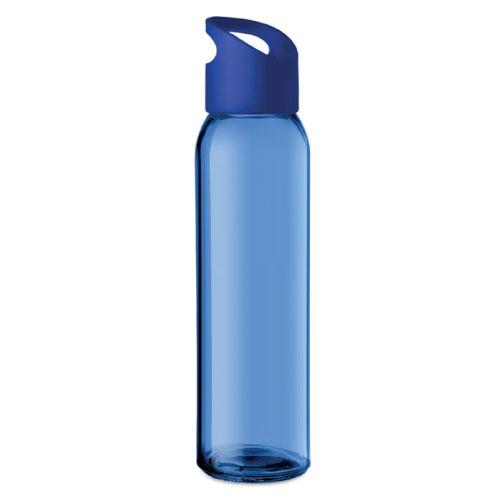 Gourde publicitaire en verre bleue avec couvercle en PP