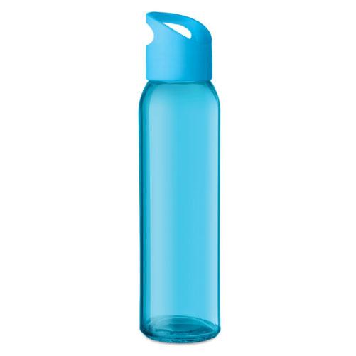 Gourde publicitaire en verre bleue clair avec couvercle en PP