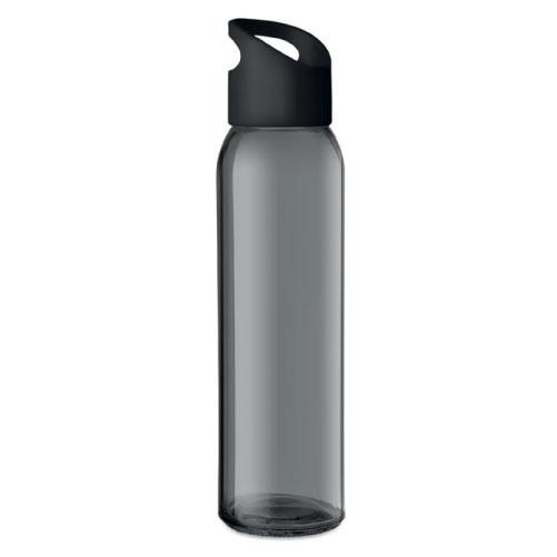 Gourde publicitaire en verre noire avec couvercle en PP