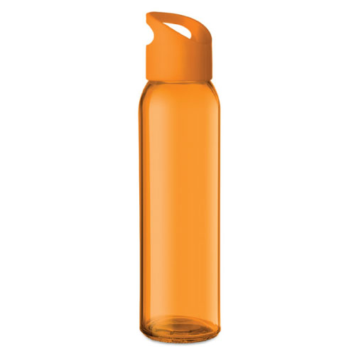 Gourde publicitaire en verre orange avec couvercle en PP