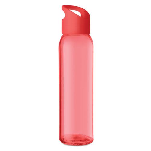 Gourde publicitaire en verre rouge avec couvercle en PP