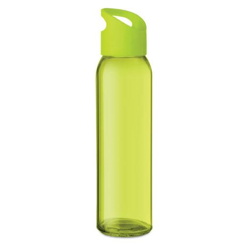 Gourde publicitaire en verre verte avec couvercle en PP