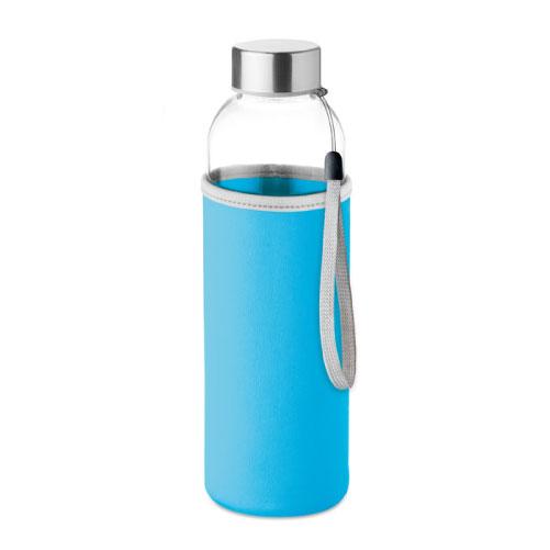 gourde publicitaire en verre 500ml avec pochette bleu clair