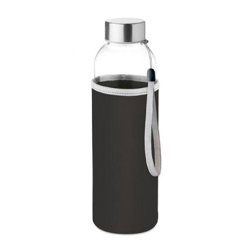 gourde publicitaire en verre 500ml avec pochette noire