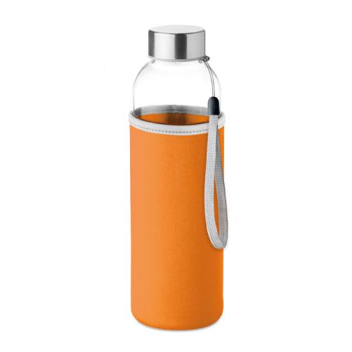 gourde publicitaire en verre 500ml avec pochette orange