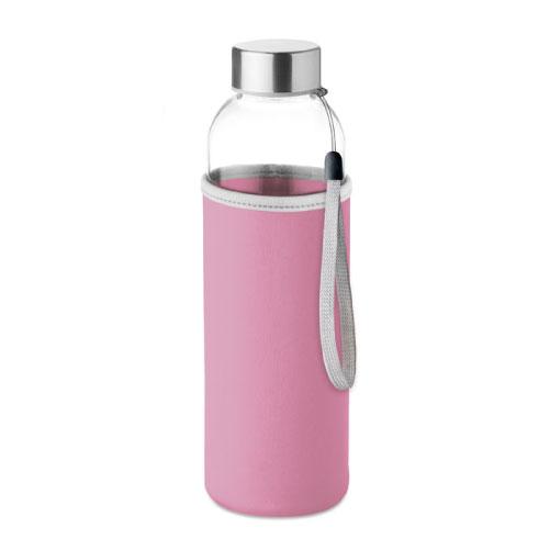 gourde publicitaire en verre 500ml avec pochette rose
