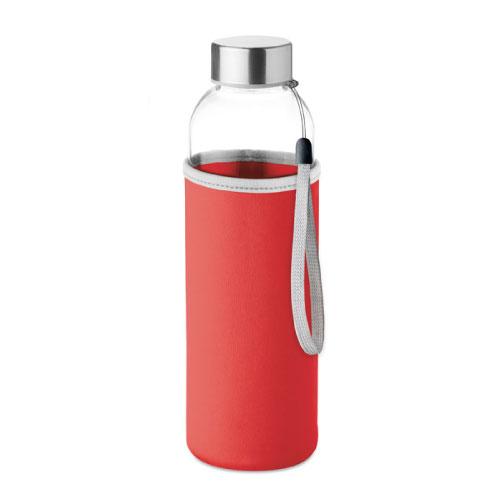 gourde publicitaire en verre 500ml avec pochette rouge