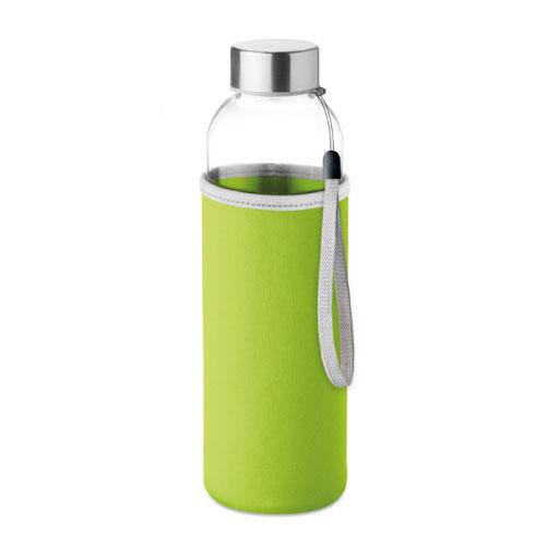 gourde publicitaire en verre 500ml avec pochette verte