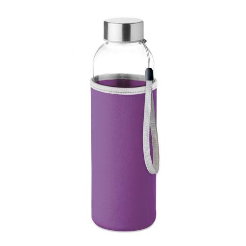 gourde publicitaire en verre 500ml avec pochette violette