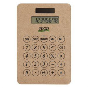 calculatrice en carton recyclé personnalisée avec logo