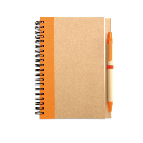 carnet publicitaire écologique couleur orange en papier recyclé