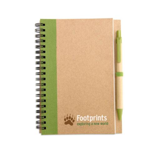 carnet publicitaire écologique couleur vert en papier recyclé